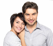 Closeup portrait of beautiful happy couple - isolated. Closeup portrait of beautiful happy couple isolated on white background. Attractive men and women being stock photos