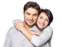 Closeup portrait of beautiful happy couple - isolated. Closeup portrait of beautiful happy couple isolated on white background. Attractive men and women being stock image
