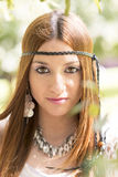 Closeup portrait of beautiful hippie young girl looking at the c Stock Photos