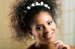 Closeup portrait of beautiful hispanic young woman Stock Images