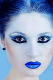 Closeup portrait of beautiful lady in blue Royalty Free Stock Photos