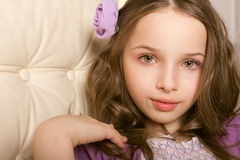 Closeup portrait beautiful  little girl Stock Photography