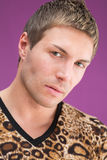 Closeup portrait of a beautiful man. In a fashionable leopard t-shirt royalty free stock photography