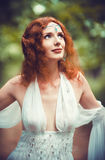 Closeup portrait of a beautiful redhead elf woman Royalty Free Stock Photo