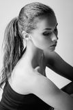 Closeup portrait of beautiful sad young woman. Black and white Royalty Free Stock Images