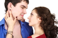 Closeup portrait of beautiful sexual couple Stock Photo