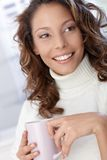 Closeup portrait of beautiful smiling woman Stock Photos