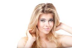 Closeup portrait of beautiful surprised woman Stock Photo