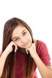 Closeup portrait of a beautiful teenage girl with long hai. R isolated over white royalty free stock photos