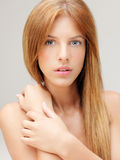 Closeup portrait beautiful woman hands shoulder Stock Image