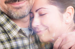 Closeup portrait of beautiful woman hugging her boyfriend Stock Photography
