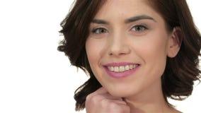 Closeup portrait of beautiful woman model face stock video