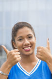 Closeup portrait of beautiful woman with thumb up gesture. Royalty Free Stock Images