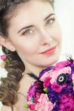 Woman with bouquet of roses Royalty Free Stock Photos