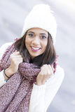 Closeup portrait of beautiful woman, winter style. Stock Photography