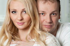 Closeup portrait of beautiful young couple. Stock Photography