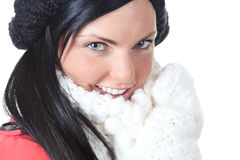 Closeup portrait of beautiful young woman coat Royalty Free Stock Photo
