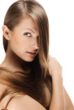 Closeup portrait of a beautiful young woman with elegant long shiny hair , concept hairstyle Royalty Free Stock Photos