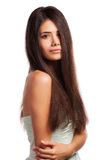 Closeup portrait of a beautiful young woman with elegant long shiny hair Stock Photo