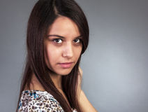 Closeup portrait of beautiful young woman with  long hair Royalty Free Stock Photo