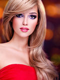 Closeup portrait of a beautiful young woman with long white hair Royalty Free Stock Photos