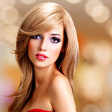 Closeup portrait of a beautiful young woman with long white hair Royalty Free Stock Image