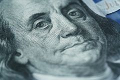 Closeup portrait of Benjamin Franklin on hundred dollar bill royalty free stock image