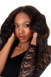 Closeup portrait of black woman. Stock Photo