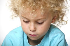 Closeup portrait of blonde kid Royalty Free Stock Photos