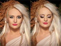 Closeup portrait of blonde woman with creative autumnal haircut, studio shot. Long fair hair girl with professional makeup Stock Photo