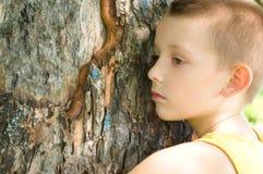 Closeup portrait of a little boy. Closeup portrait of a bored little boy Stock Photos