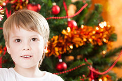 Closeup portrait of boy in Christmas Stock Images