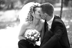 Closeup portrait of bride and groom kissing tenderly at park Royalty Free Stock Image