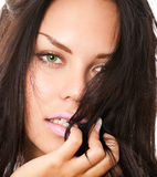 Closeup portrait of brunette Royalty Free Stock Images