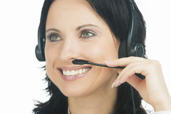 Closeup portrait of brunette call-center operator Royalty Free Stock Photos