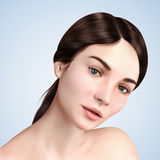 Closeup portrait of brunette model. Young woman with charming eyes for cosmetic or medical ads use, 3d illustration Stock Photo