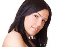 Closeup portrait brunette woman Stock Photos