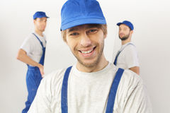 Closeup portrait of builders Royalty Free Stock Images