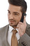 Closeup portrait of businessman on phone call Royalty Free Stock Photos
