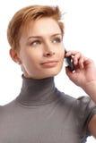 Closeup portrait of businesswoman on mobile Stock Image