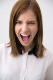 Closeup portrait of a businesswoman shouting Stock Photo