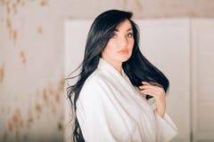 Beautiful caucasian woman in bathroom royalty free stock images