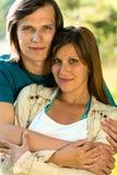 Closeup portrait of caucasian couple outdoors Stock Photo