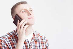 Closeup  Portrait of Caucasian Man Speaking on Cellphone Royalty Free Stock Photography