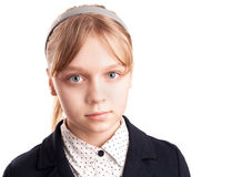 Closeup portrait of Caucasian schoolgirl isolated on whit Stock Photography