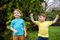 Closeup portrait of Caucasian two little brothers boys laughing outside in park on summer day royalty free stock image