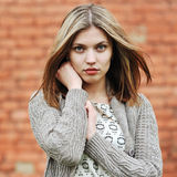 Closeup portrait of caucasian young woman with beautiful eyes Royalty Free Stock Image