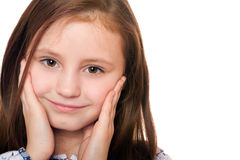 Closeup portrait of charming little girl. Isolated Royalty Free Stock Photography