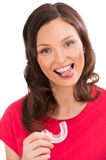 Closeup portrait of charming woman wearing orthodontic braces ho Royalty Free Stock Photos