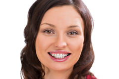 Closeup portrait of charming woman wearing orthodontic ceramic brackets Royalty Free Stock Image